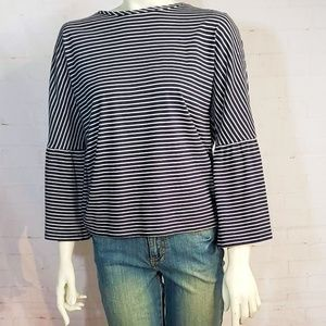 TOPSHOP BELL SLEEVE STRIPED NAVY BLOUSE 8